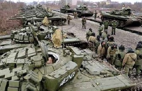Russian armor massing on the Ukrainian border. The crisis is entering a more dangerous phase.