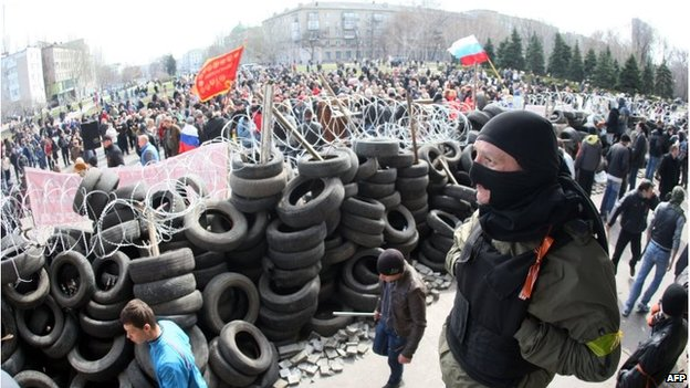 Protesters in Donetsk