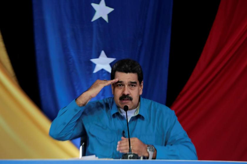 "Venezuela's President Nicolas Maduro speaks during his weekly broadcast ""Los Domingos con Maduro"" (The Sundays with Maduro) in Caracas"