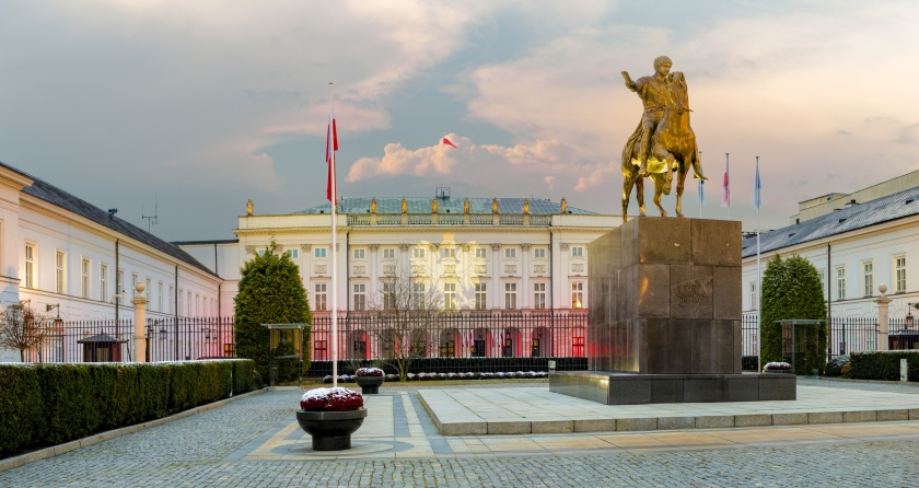 Warsaw,Poland October 2016:castle in Wilanow in holiday illumination